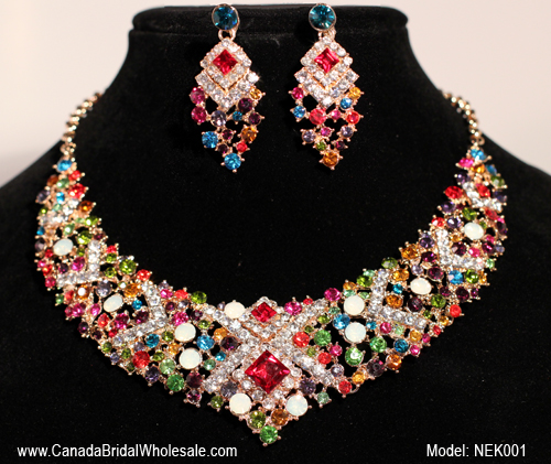 Beautiful colours crystals necklace toronto bridal jewellery canada